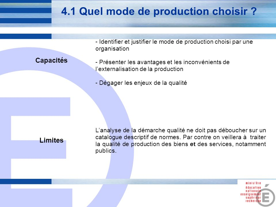 4.1 Quel mode de production choisir