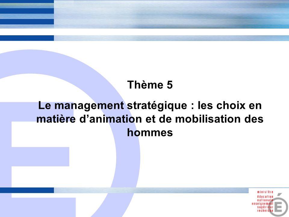 Thème 5 Le management stratégique : les choix en matière d'animation et de mobilisation des hommes.