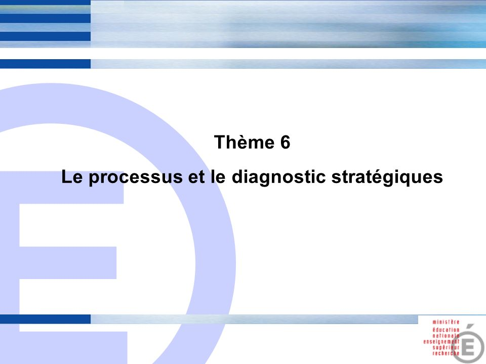 Le processus et le diagnostic stratégiques