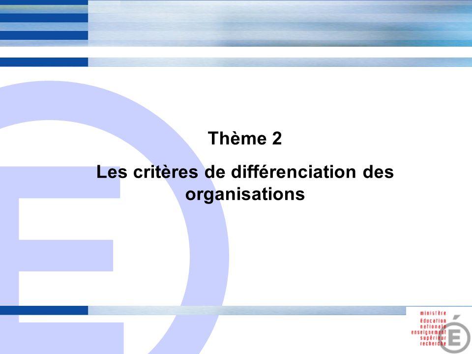 Les critères de différenciation des organisations
