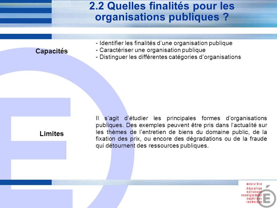 2.2 Quelles finalités pour les organisations publiques
