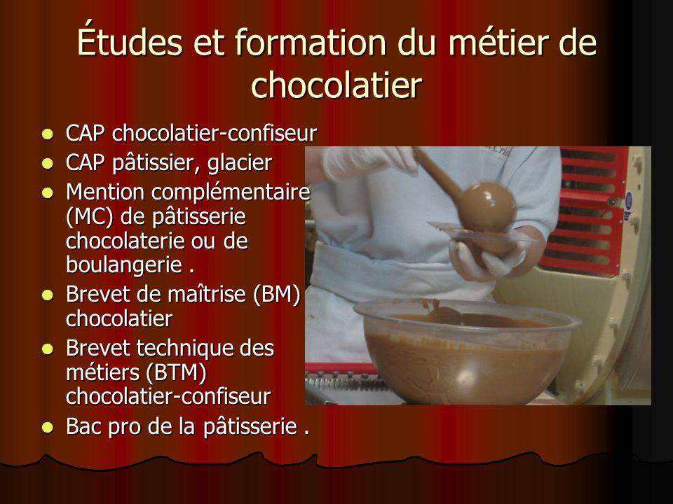 Études et formation du métier de chocolatier