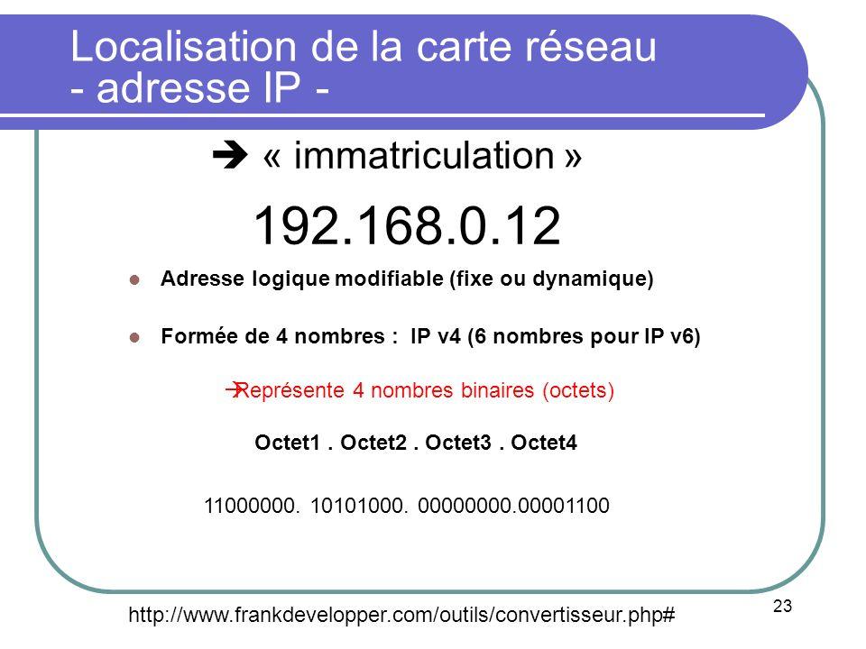 Localisation de la carte réseau - adresse IP -