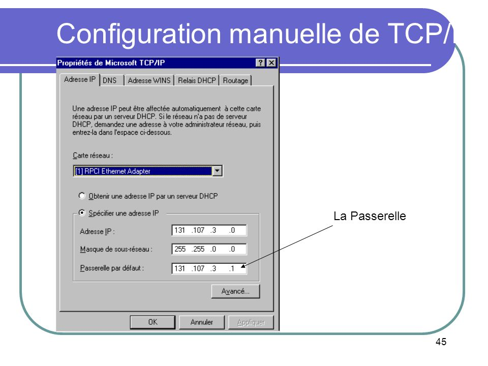 Configuration manuelle de TCP/IP