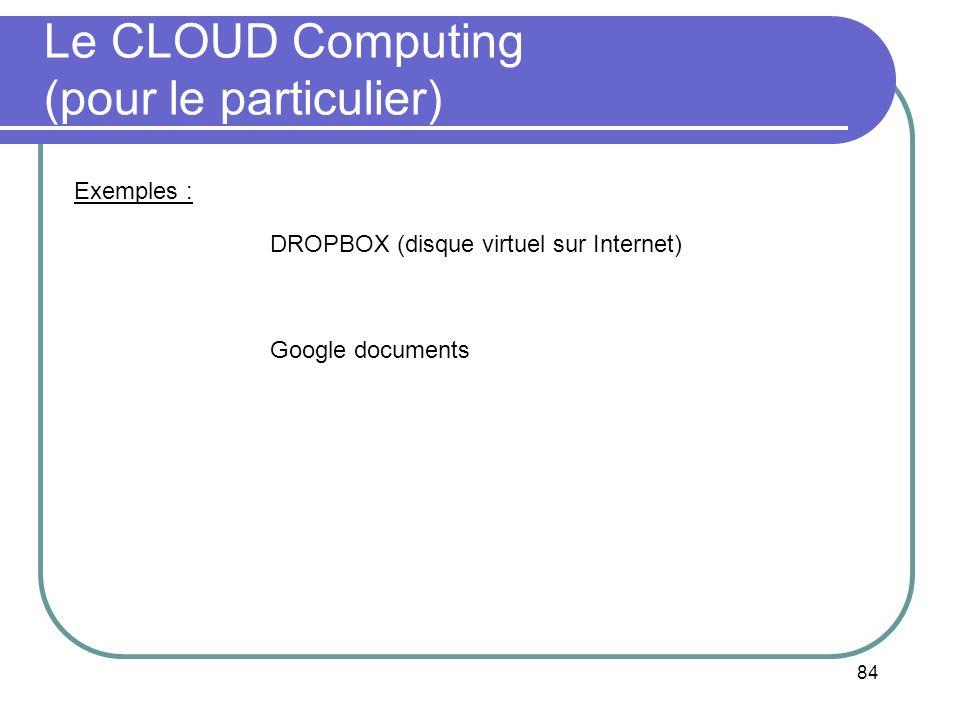 Le CLOUD Computing (pour le particulier)