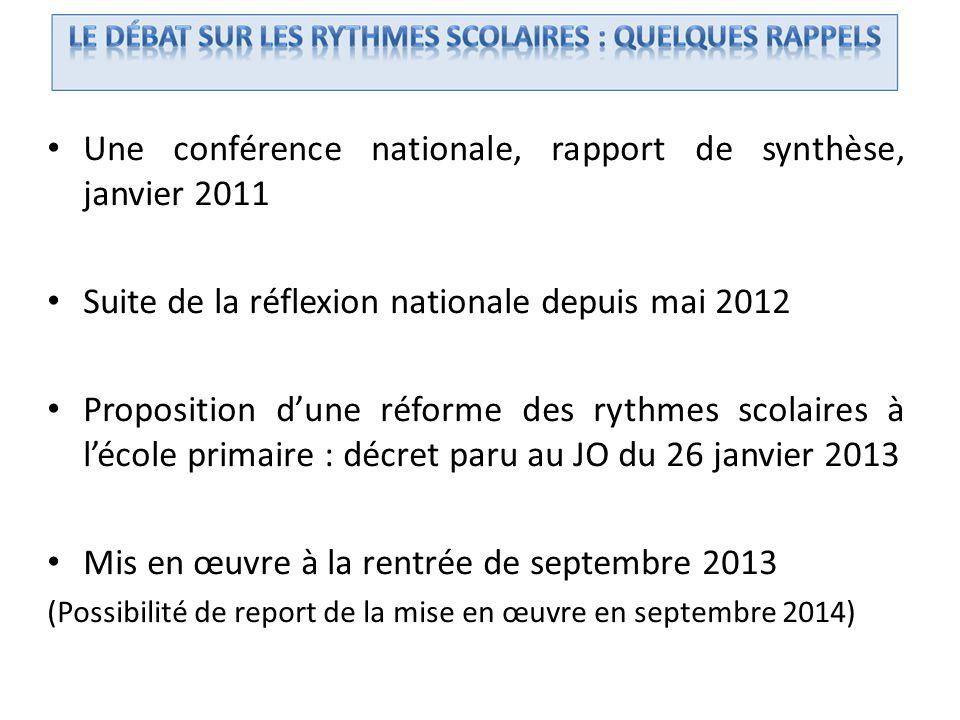 Une conférence nationale, rapport de synthèse, janvier 2011