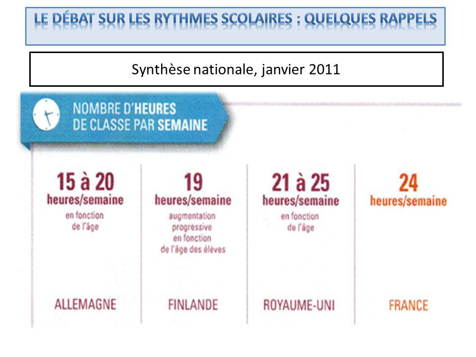 Synthèse nationale, janvier 2011