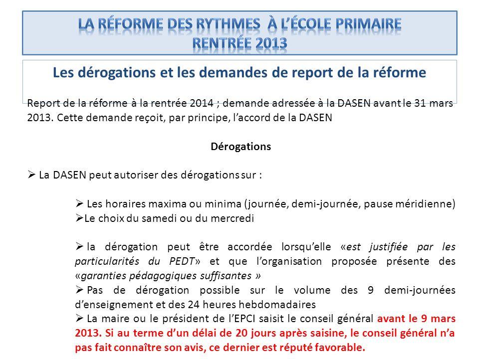 Les dérogations et les demandes de report de la réforme