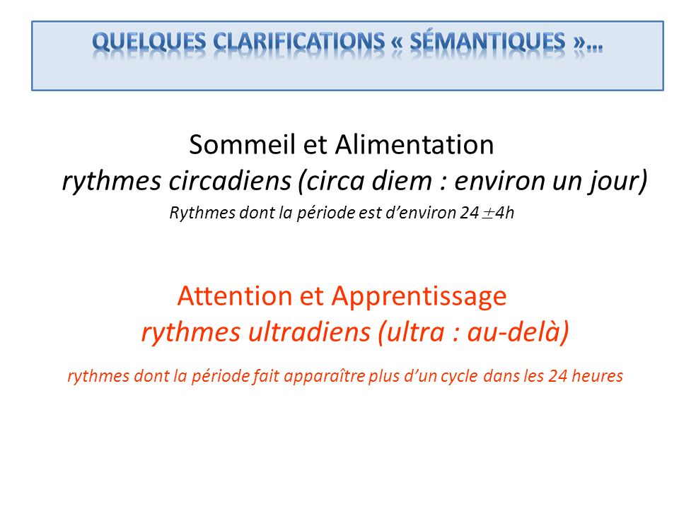 Attention et Apprentissage rythmes ultradiens (ultra : au-delà)