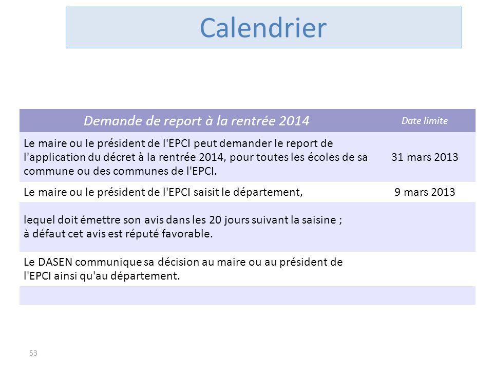 Demande de report à la rentrée 2014