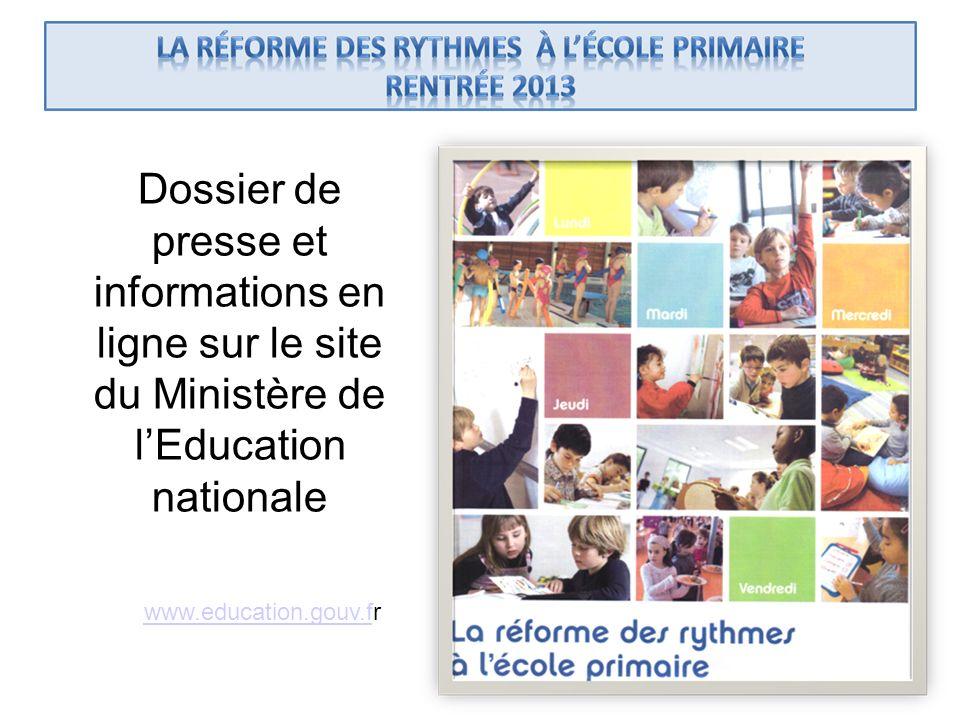 Dossier de presse et informations en ligne sur le site du Ministère de l'Education nationale
