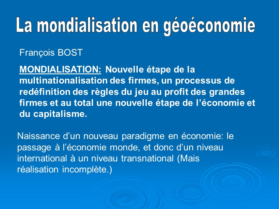 La mondialisation en géoéconomie