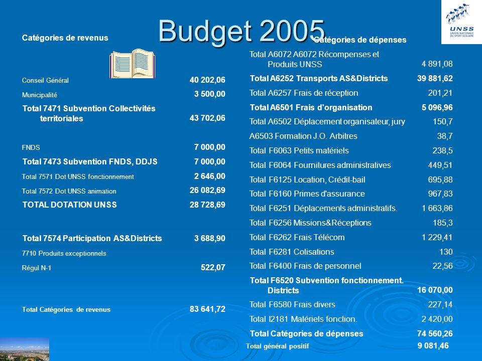 Budget 2005 Catégories de revenus 40 202,06 3 500,00