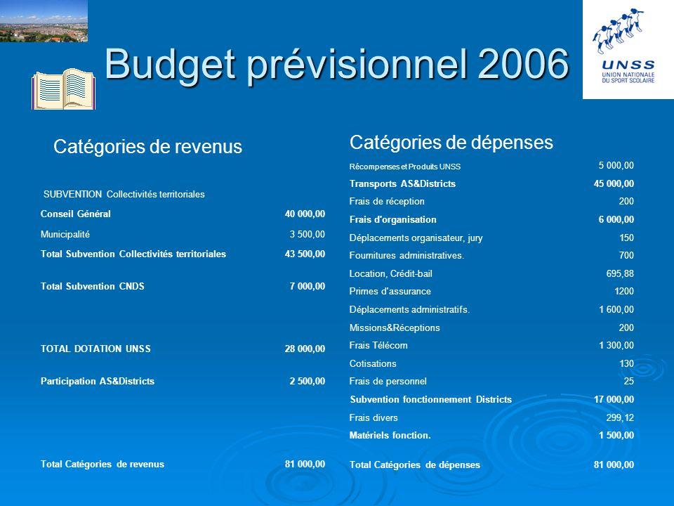 Budget prévisionnel 2006 Catégories de revenus Catégories de dépenses