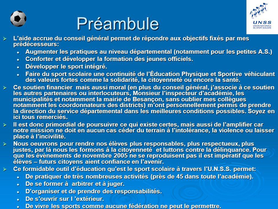 Préambule L'aide accrue du conseil général permet de répondre aux objectifs fixés par mes prédécesseurs: