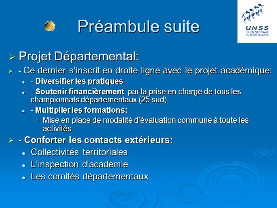 Préambule suite Projet Départemental: