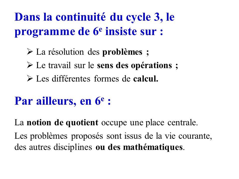 Dans la continuité du cycle 3, le programme de 6e insiste sur :