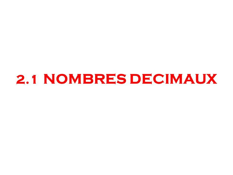 2.1 NOMBRES DECIMAUX