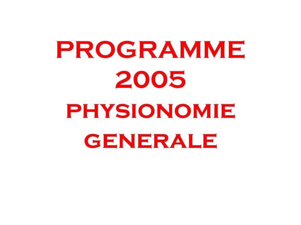 PROGRAMME 2005 physionomie generale