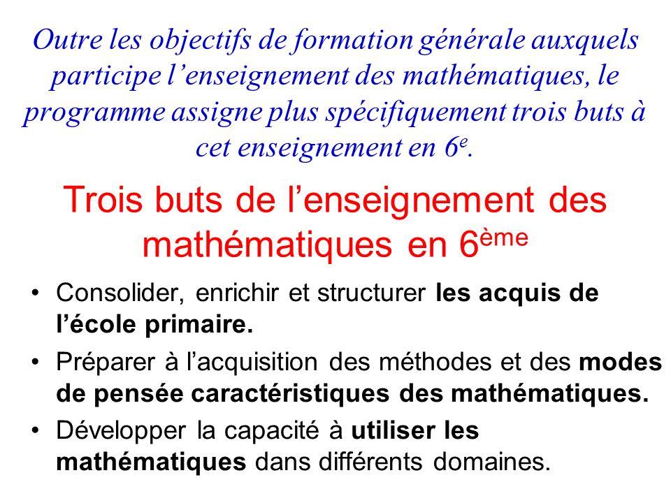 Trois buts de l'enseignement des mathématiques en 6ème
