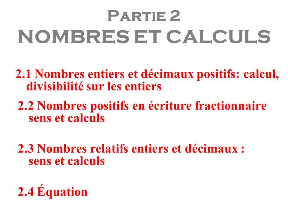 Partie 2 NOMBRES ET CALCULS