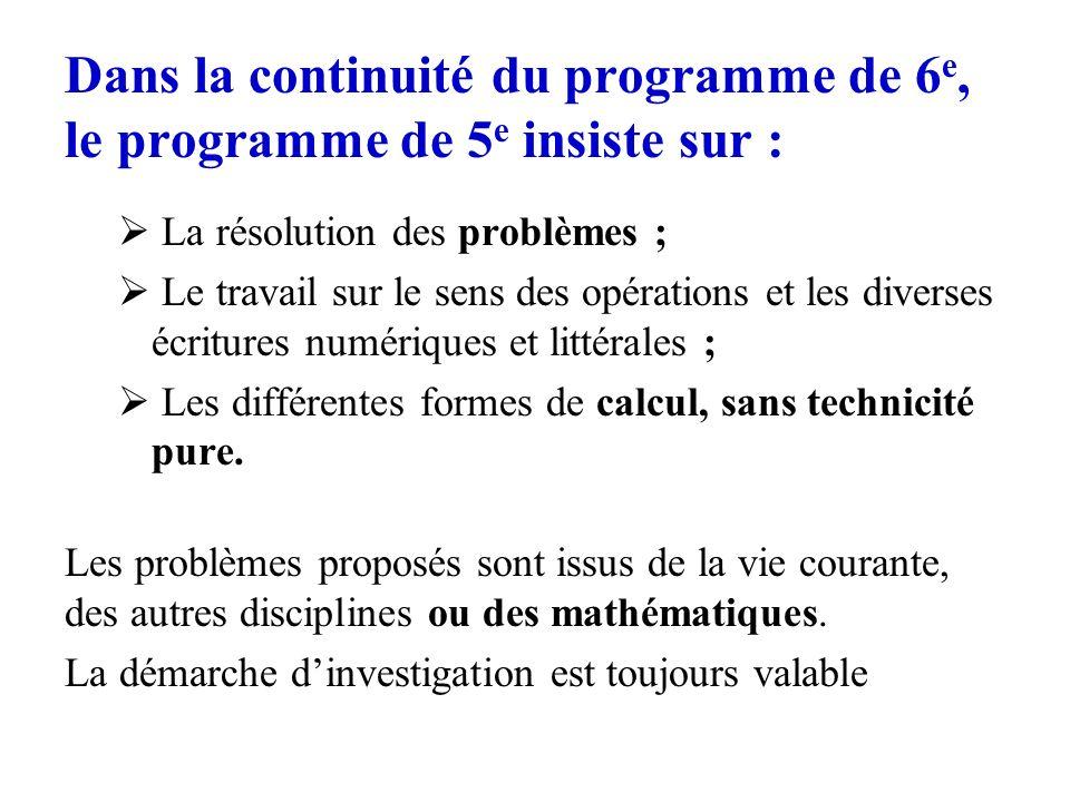 Dans la continuité du programme de 6e, le programme de 5e insiste sur :