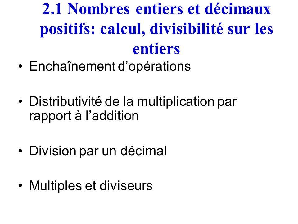 2.1 Nombres entiers et décimaux positifs: calcul, divisibilité sur les entiers