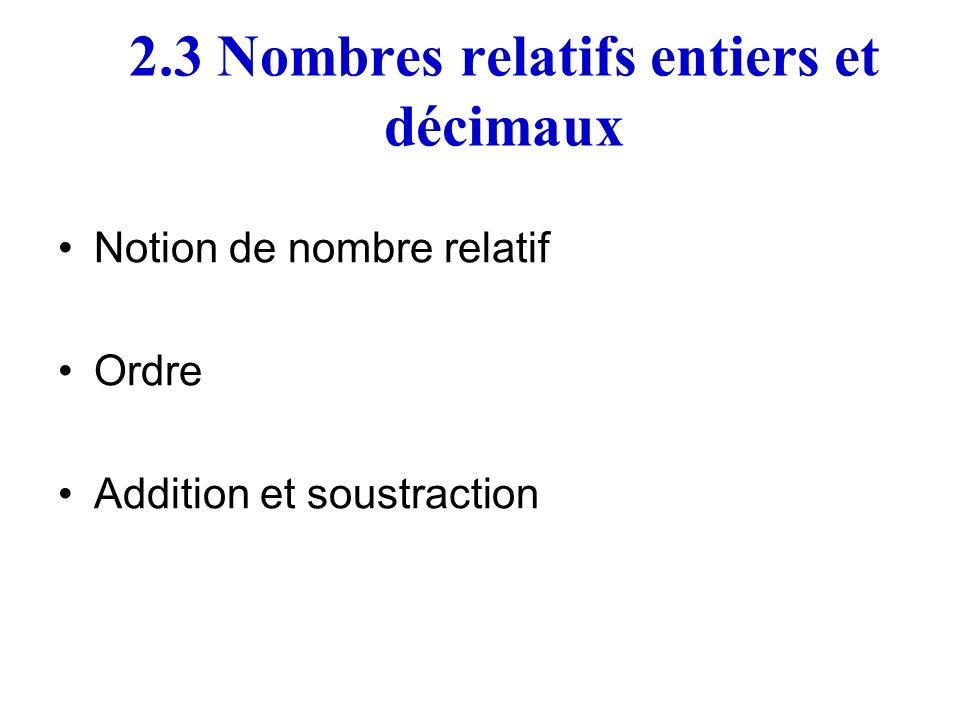2.3 Nombres relatifs entiers et décimaux