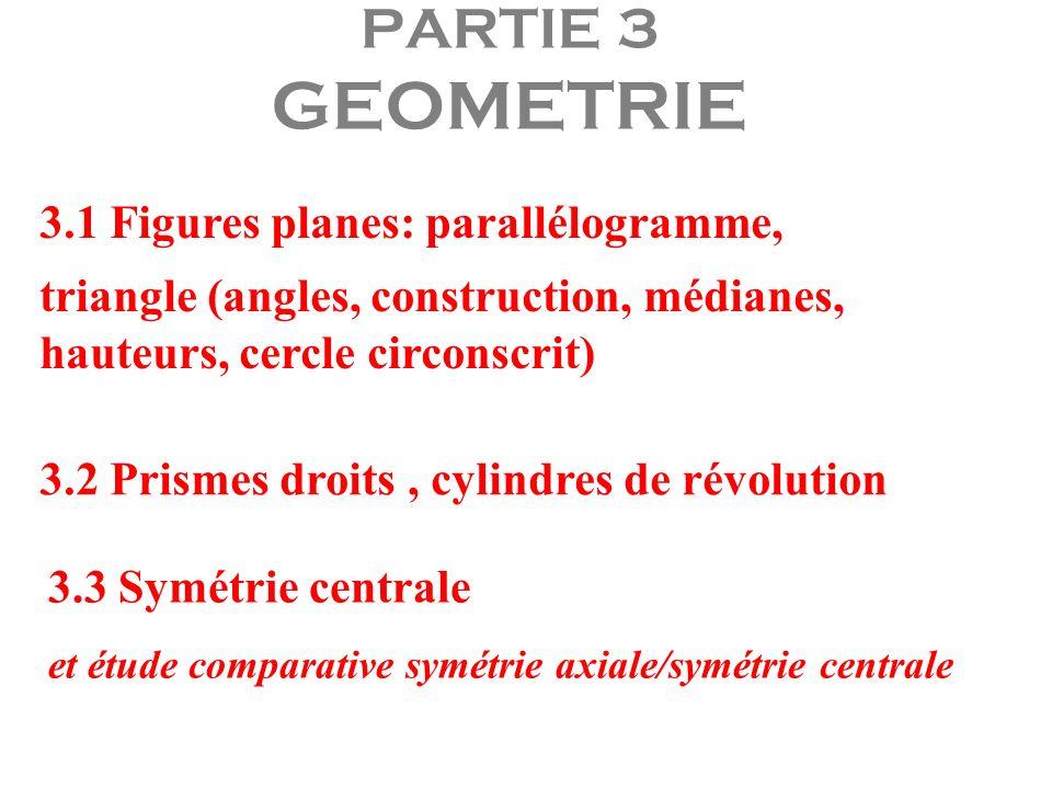 PARTIE 3 GEOMETRIE 3.1 Figures planes: parallélogramme,