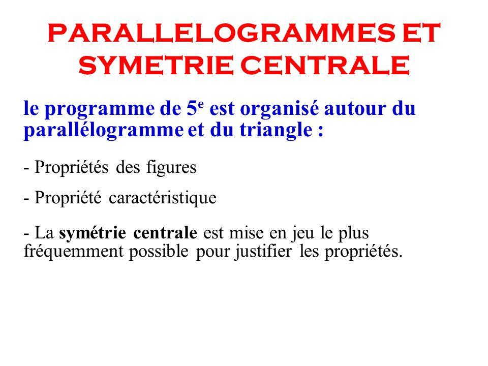 PARALLELOGRAMMES ET SYMETRIE CENTRALE