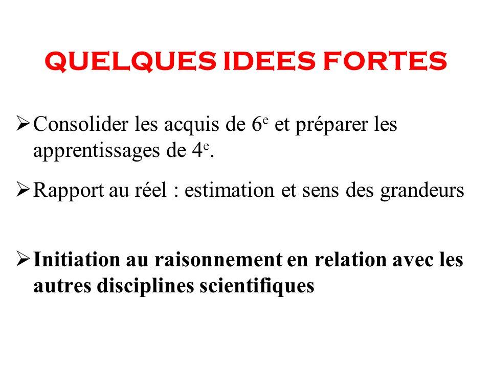 QUELQUES IDEES FORTES Consolider les acquis de 6e et préparer les apprentissages de 4e. Rapport au réel : estimation et sens des grandeurs.