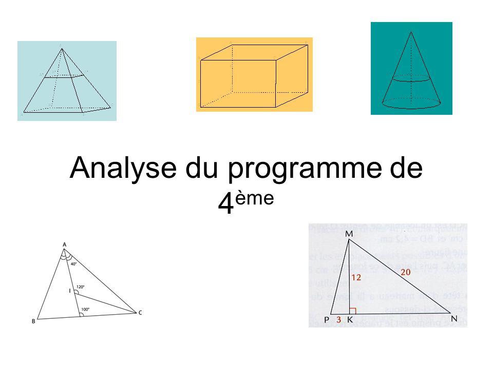 Analyse du programme de 4ème