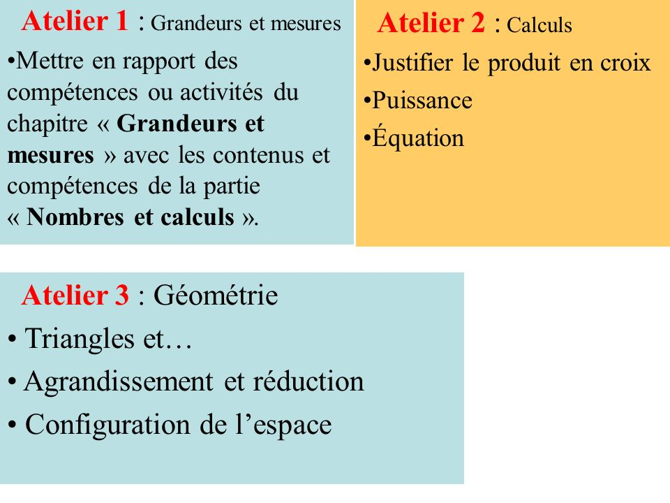 Atelier 1 : Grandeurs et mesures Atelier 2 : Calculs