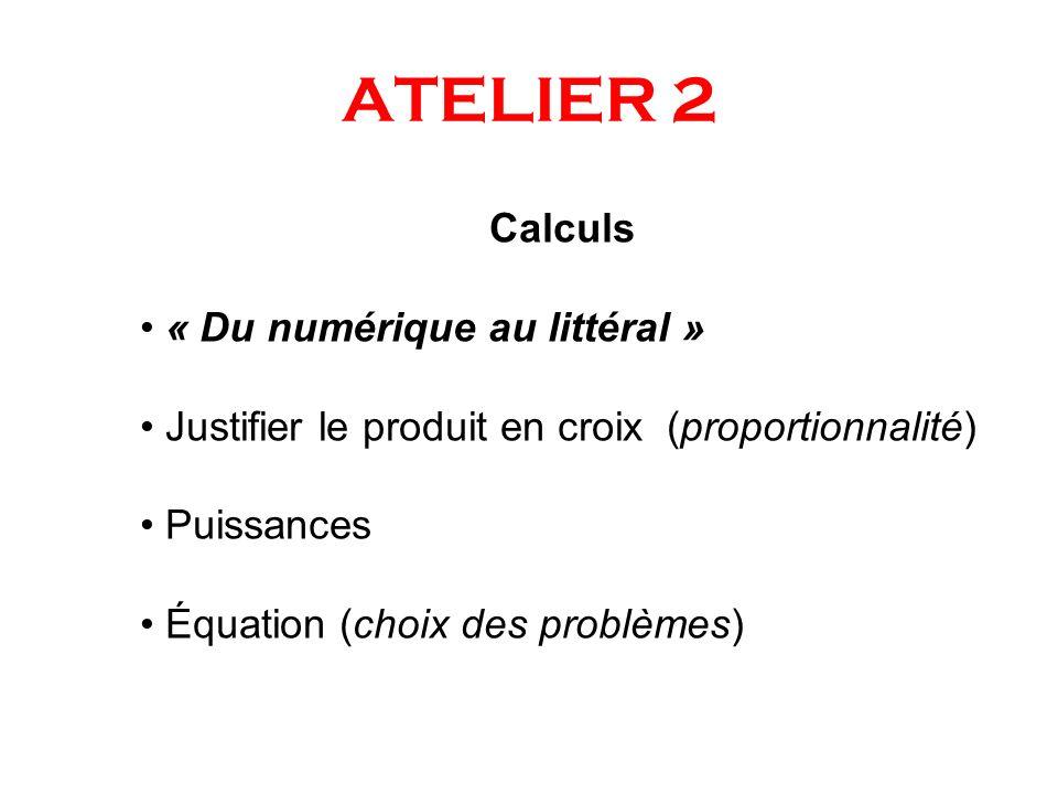 ATELIER 2 Calculs « Du numérique au littéral »