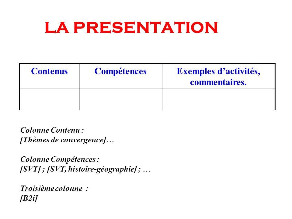 Exemples d'activités, commentaires.