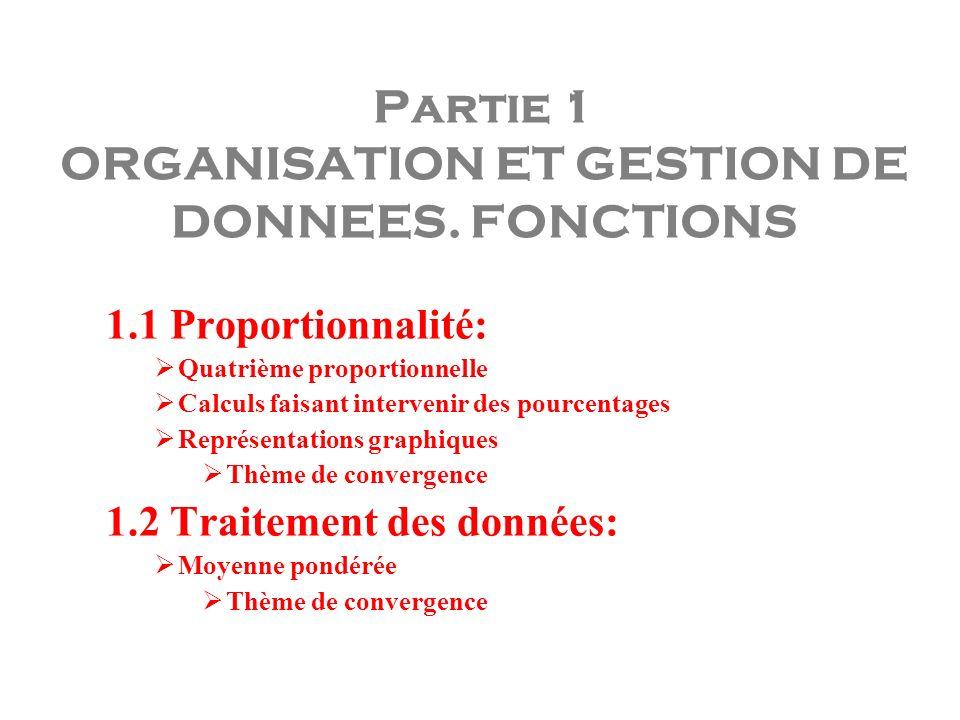 Partie 1 ORGANISATION ET GESTION DE DONNEES. FONCTIONS