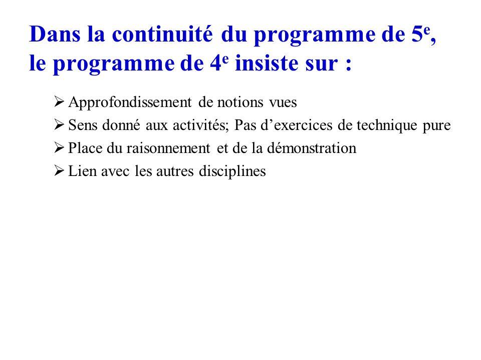 Dans la continuité du programme de 5e, le programme de 4e insiste sur :
