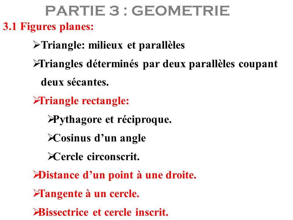 PARTIE 3 : GEOMETRIE 3.1 Figures planes: