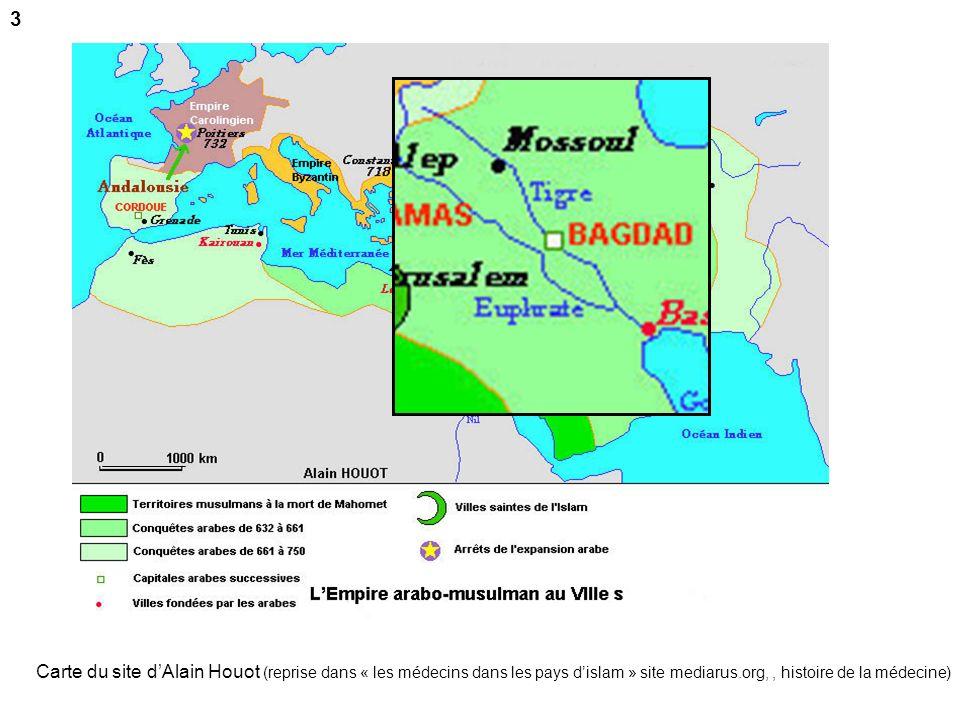 3 Carte du site d'Alain Houot (reprise dans « les médecins dans les pays d'islam » site mediarus.org, , histoire de la médecine)