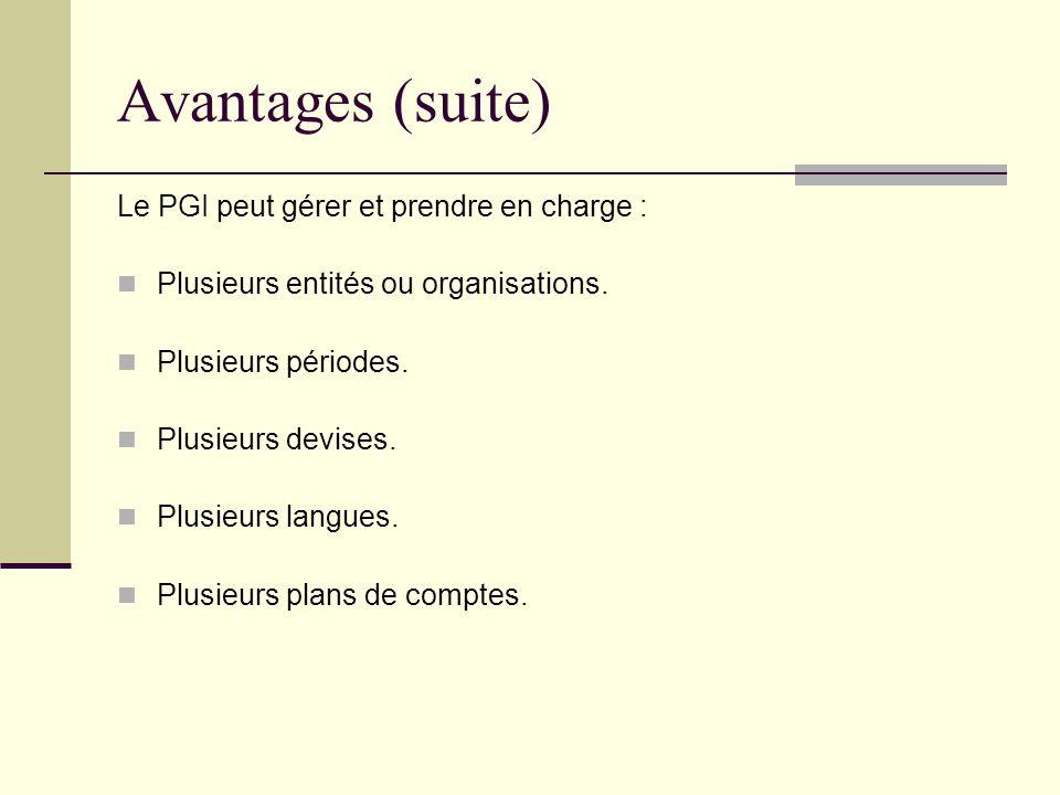 Avantages (suite) Le PGI peut gérer et prendre en charge :