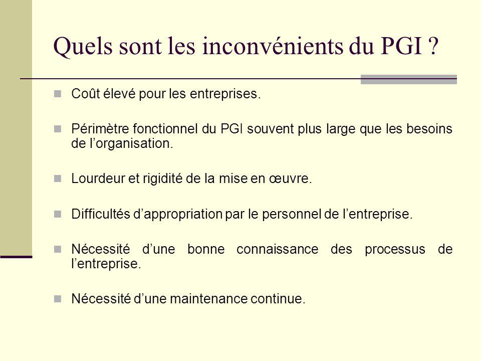 Quels sont les inconvénients du PGI