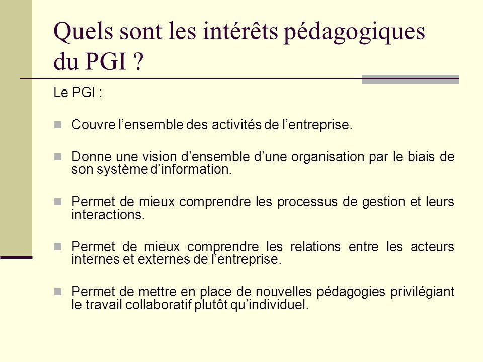 Quels sont les intérêts pédagogiques du PGI