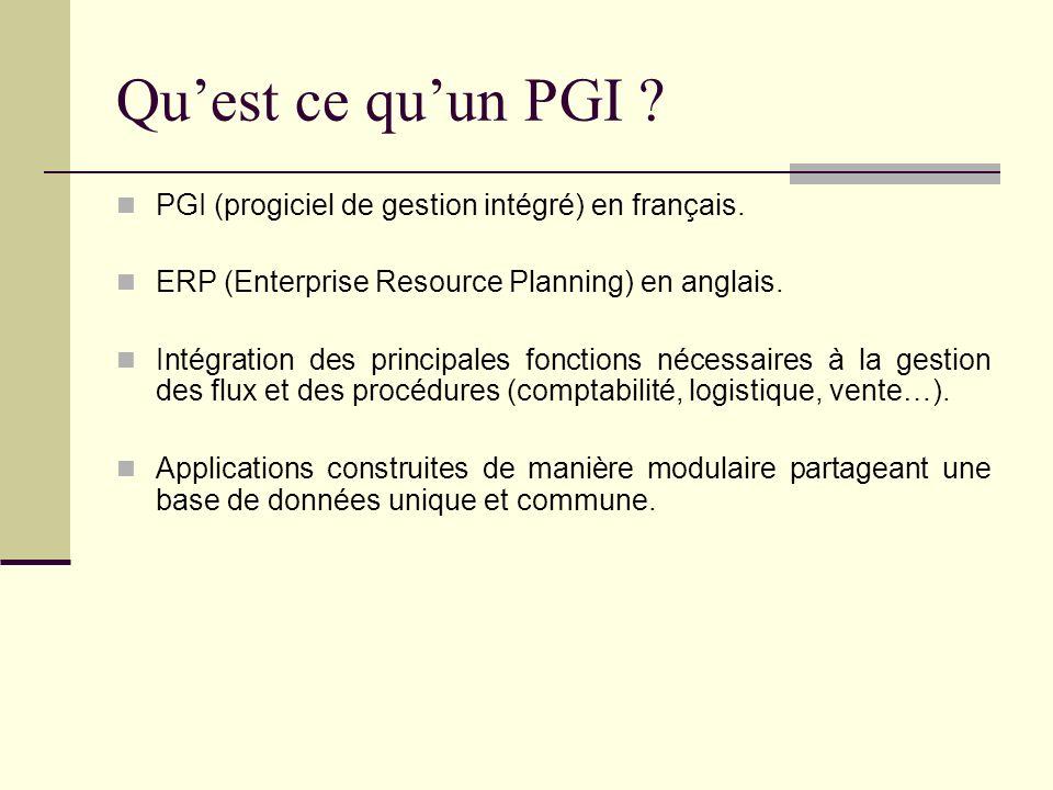 Qu'est ce qu'un PGI PGI (progiciel de gestion intégré) en français.