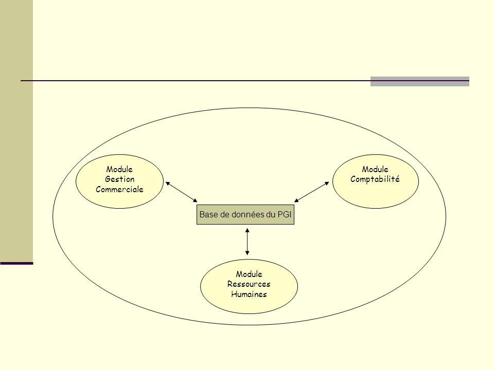 Module Gestion Commerciale Module Comptabilité Base de données du PGI Module Ressources Humaines