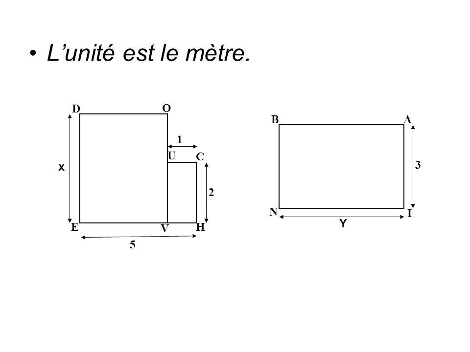 L'unité est le mètre. 1 2 5 x E V H U C D O N Y 3 I A B