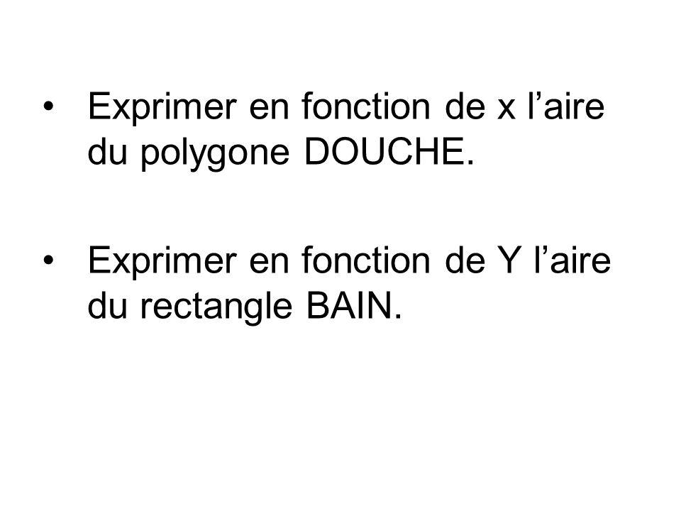 Exprimer en fonction de x l'aire du polygone DOUCHE.