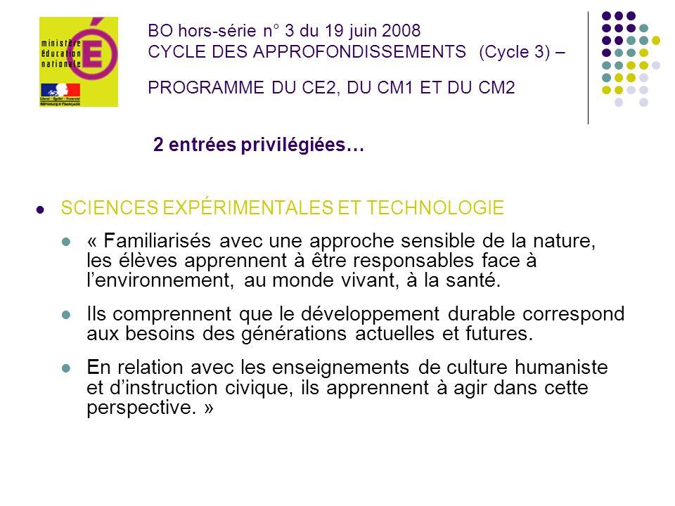 BO hors-série n° 3 du 19 juin 2008 CYCLE DES APPROFONDISSEMENTS (Cycle 3) – PROGRAMME DU CE2, DU CM1 ET DU CM2