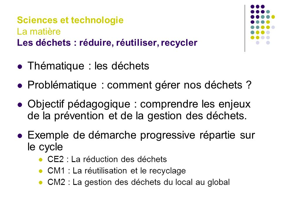 Thématique : les déchets Problématique : comment gérer nos déchets