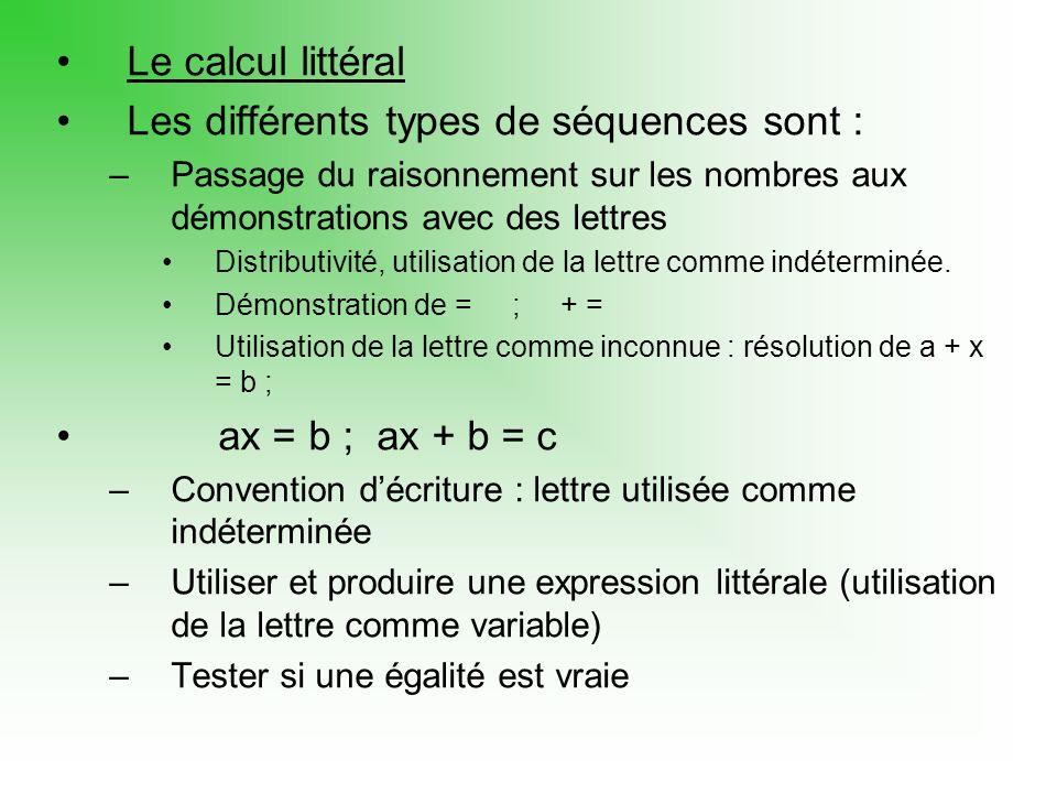 Les différents types de séquences sont :