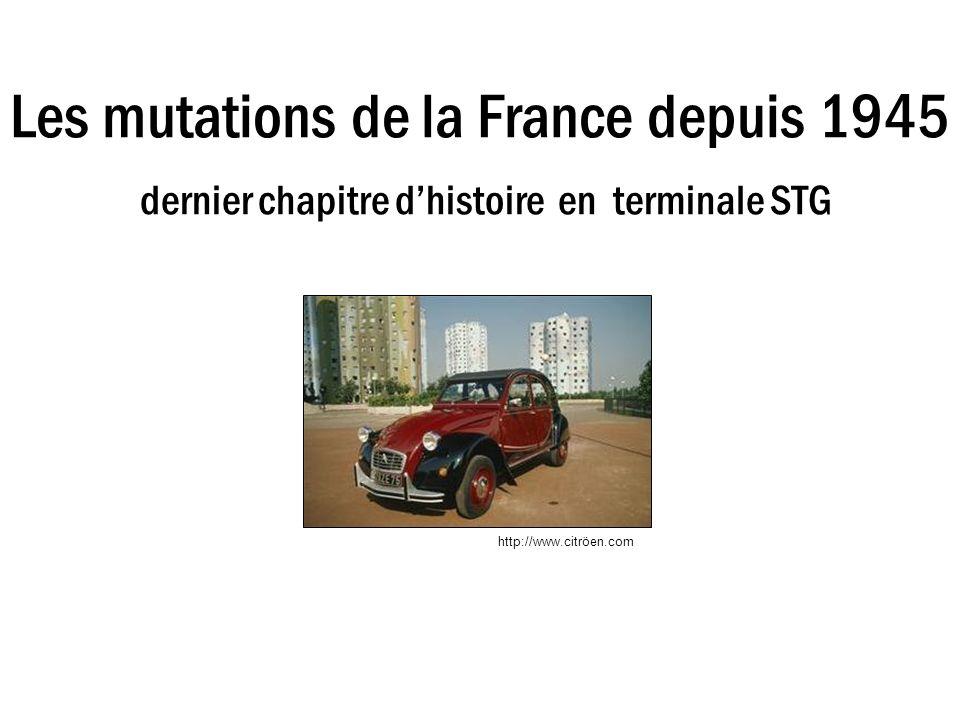 Les mutations de la France depuis 1945 dernier chapitre d'histoire en terminale STG